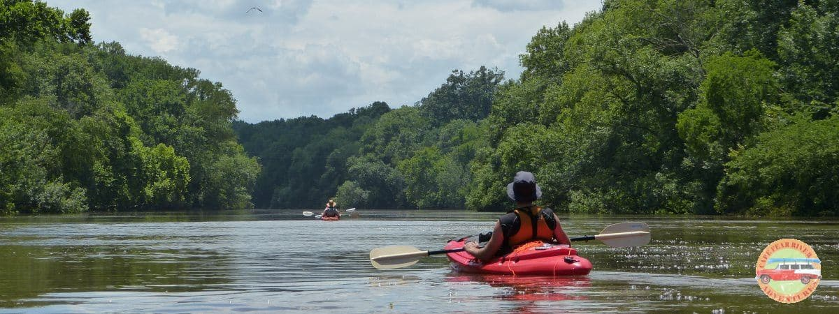 Two kayakers on the Cape Fear river in Lillington, NC