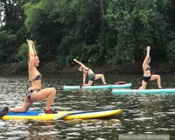 paddle board yoga on cape fear river in lillington, NC