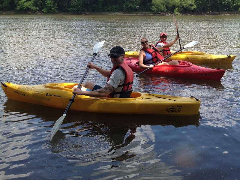 rental kayak on great shaw falls on cape fear river near erwin, nc