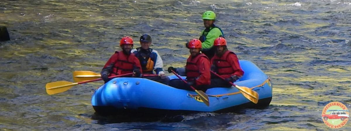 whitewater raft on water