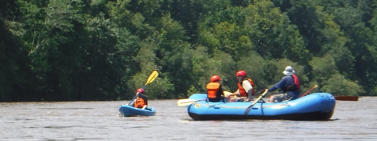 whitewater raft on cape fear river in lillington, NC