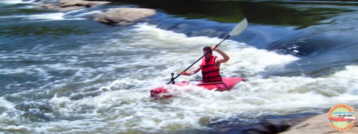 Rental whitewater kayak on Cape Fear River in Lillington, NC