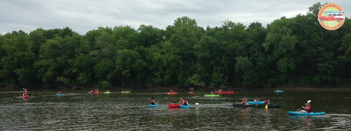 canoes and kayaks on the river