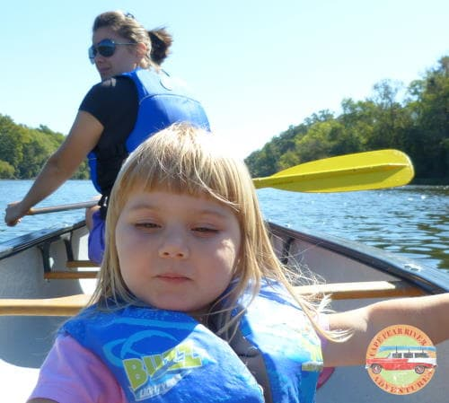 Canoeing with kids on cape fear river in Lillington, NC