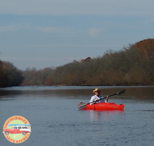 Kayak on cape fear river on leisure paddle