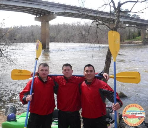 Guided whitewater kayaking on cape fear river in Lillington, NC