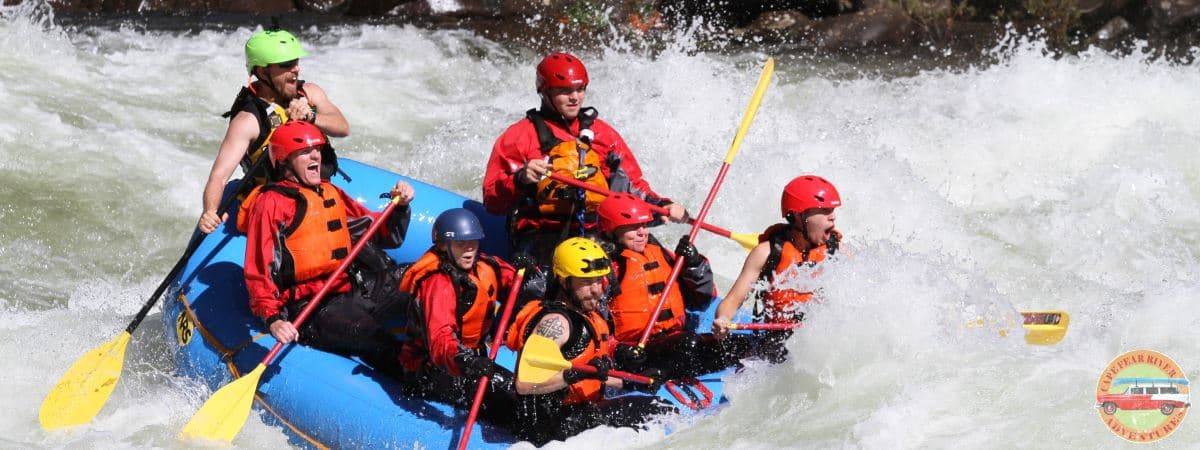 Cape Fear River Adventures employees whitewater rafting on gauley river, pillow rock rapid